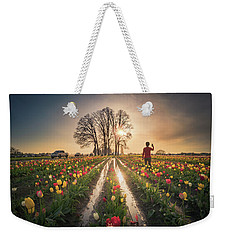 Weekender Tote Bag featuring the photograph Taking Sunset Pictures Using A Mobile Phone by William Lee