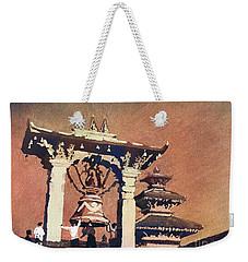 Weekender Tote Bag featuring the painting Taleju Bell- Patan, Nepal by Ryan Fox