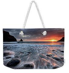 Weekender Tote Bag featuring the photograph Talisker Bay Rocky Sunset by Grant Glendinning