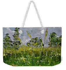 Weekender Tote Bag featuring the painting Tall Grass by Judith Rhue