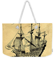 Weekender Tote Bag featuring the drawing Tall Ship Vintage by Edward Fielding