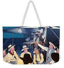 Weekender Tote Bag featuring the painting Tall Tale by Tom Roderick