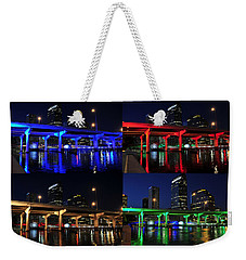 Weekender Tote Bag featuring the photograph Tampa's Colorful Bridges by David Lee Thompson