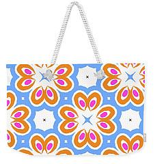 Tangerine And Sky Floral Pattern- Art By Linda Woods Weekender Tote Bag