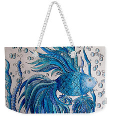 Weekender Tote Bag featuring the drawing Tangled Fish 3 by Megan Walsh