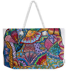 Weekender Tote Bag featuring the drawing Tanglemania by Megan Walsh