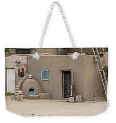 Taos Pueblo Adobe House With Pots Weekender Tote Bag by Allen Sheffield