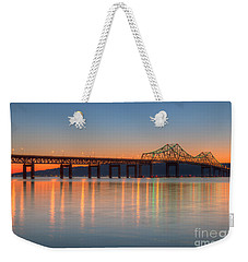 Tappan Zee Bridge After Sunset II Weekender Tote Bag by Clarence Holmes