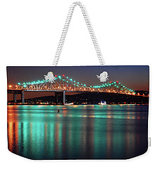 Weekender Tote Bag featuring the photograph Tappan Zee Refelctions by James Kirkikis