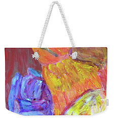 Weekender Tote Bag featuring the painting Tarella Napping With Merline by Donald J Ryker III