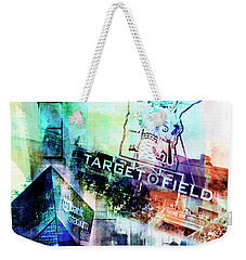 Weekender Tote Bag featuring the digital art Target Field Us Bank Staduim  by Susan Stone