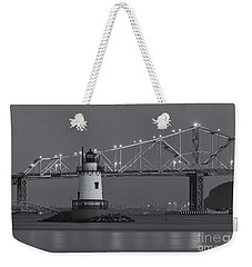 Tarrytown Lighthouse And Tappan Zee Bridge At Twilight II Weekender Tote Bag