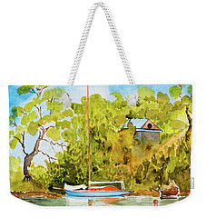 Weekender Tote Bag featuring the painting Tasmanian Yacht 'weene' 105 Year Old A1 Design by Dorothy Darden