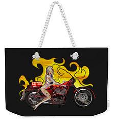 Tattoo Pinup Girl On Her Motorcycle Weekender Tote Bag