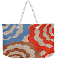Weekender Tote Bag featuring the mixed media Taupe Ring Pattern by Christina Rollo