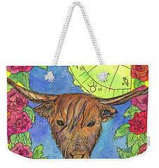 Weekender Tote Bag featuring the painting Taurus by Cathie Richardson