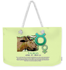 Taurus Sun Sign Weekender Tote Bag