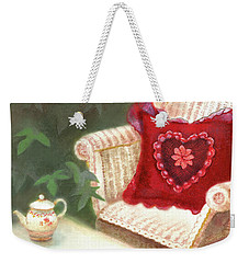 Weekender Tote Bag featuring the painting Tea In A Victorian Cottage Garden by Nancy Lee Moran