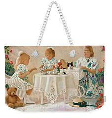 Weekender Tote Bag featuring the pastel Tea In The Rose Garden by Nancy Lee Moran