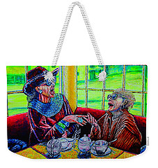 Weekender Tote Bag featuring the painting Tea Party by Viktor Lazarev
