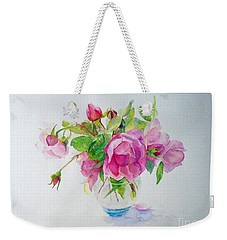 Weekender Tote Bag featuring the painting Tea Rose by Beatrice Cloake
