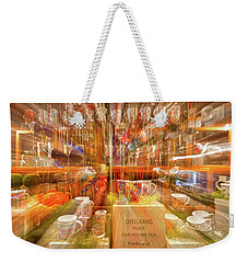 Weekender Tote Bag featuring the photograph Tea Store Abstract by Stuart Litoff