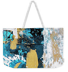 Weekender Tote Bag featuring the painting Teal Abstract by Christina Rollo