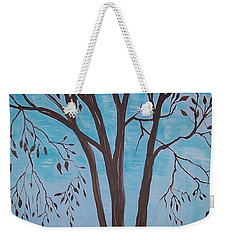 Weekender Tote Bag featuring the painting Teal And Brown by Leslie Allen
