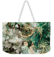 Weekender Tote Bag featuring the painting Teal And Cream Abstract Painting by Ayse Deniz