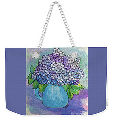 Weekender Tote Bag featuring the painting Teapot Hydranger by Rosemary Aubut