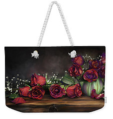 Weekender Tote Bag featuring the digital art Teapot Roses by Susan Kinney