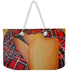 Tease Me In Tartan Weekender Tote Bag by Tracey Harrington-Simpson