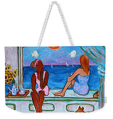 Weekender Tote Bag featuring the painting Teatime I by Xueling Zou