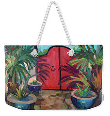 Weekender Tote Bag featuring the painting Tecate Garden Gate by Diane McClary