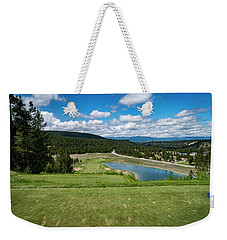 Weekender Tote Bag featuring the photograph Tee Box With As View by Darcy Michaelchuk