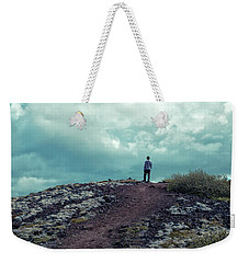 Weekender Tote Bag featuring the photograph Teenager On A Hiking Trail In Iceland by Edward Fielding