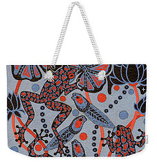 Weekender Tote Bag featuring the painting Tehteu Little Green Frogs by Chholing Taha