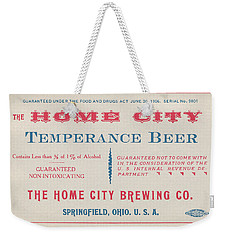 Weekender Tote Bag featuring the photograph Temperance Beer Label by Tom Mc Nemar