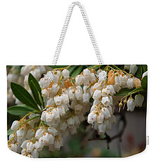 Weekender Tote Bag featuring the photograph Temple Bells Andromedia by Chris Flees