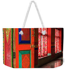 Weekender Tote Bag featuring the photograph Temple Door by Alexey Stiop