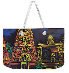 Weekender Tote Bag featuring the painting Temple Lights In The Night by Brindha Naveen