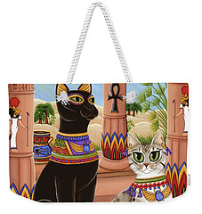 Weekender Tote Bag featuring the painting Temple Of Bastet - Bast Goddess Cat by Carrie Hawks