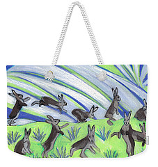 Weekender Tote Bag featuring the painting Ten Leaping Hares by Denise Weaver Ross