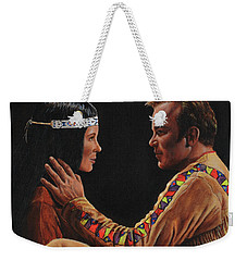 Weekender Tote Bag featuring the painting Tenderness In His Touch by Kim Lockman