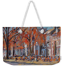 Weekender Tote Bag featuring the painting Terrace In The Grand Tanners Street Maastricht by Nop Briex