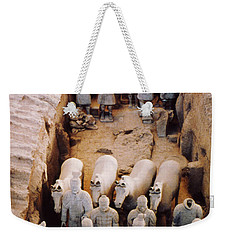 Weekender Tote Bag featuring the photograph Terracotta Army by Heiko Koehrer-Wagner