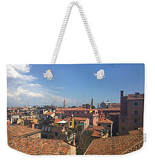 Weekender Tote Bag featuring the photograph Terracotta Rooftops by Anne Kotan