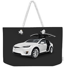 Tesla Model X Luxury Suv Electric Car With Open Falcon-wing Doors Art Photo Print Weekender Tote Bag