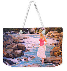 Weekender Tote Bag featuring the painting Testing The Water by Alan Lakin