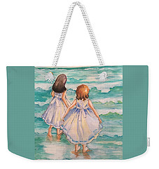 Weekender Tote Bag featuring the painting Testing The Waters by Rosemary Aubut